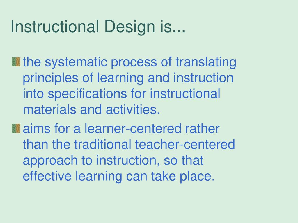 what is instructional design principles