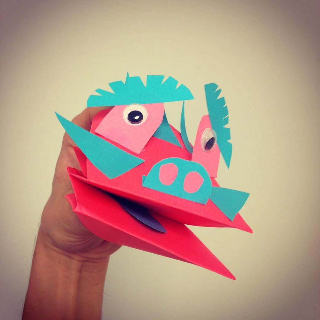 origami hand puppet instructions